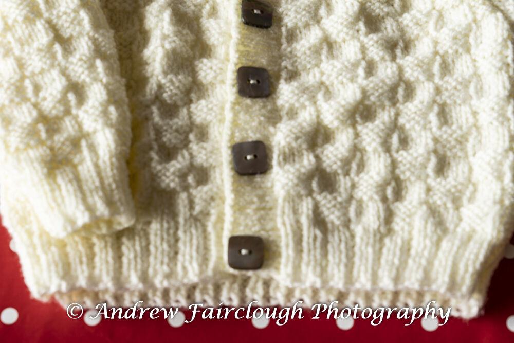 Basket Weave Collared Cardigan - Plain Cream Button detail.
