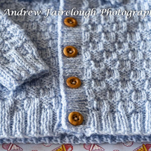 Basket Weave Cardigan button detail - blue