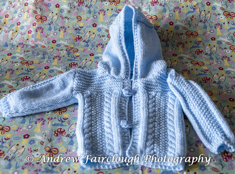 Cable and Moss Stitch Hooded Jacket including measurements - Blue