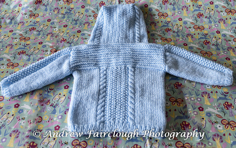 Cable and Moss Stitch Hooded Jacket - Blue