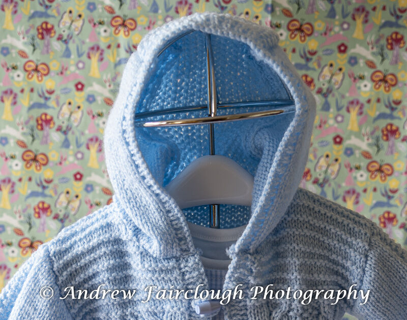 Cable and Moss Stitch Hooded Jacket - Blue.
