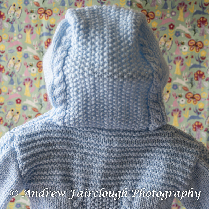 Cable and Moss Stitch Hooded Jacket - Blue Jacket.