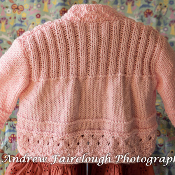Pink Cardigan including measurements.
