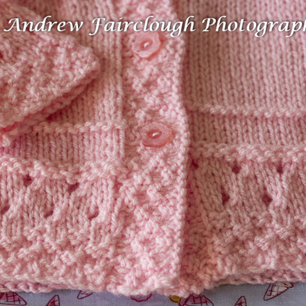 Pink Cardigan button and pattern detail