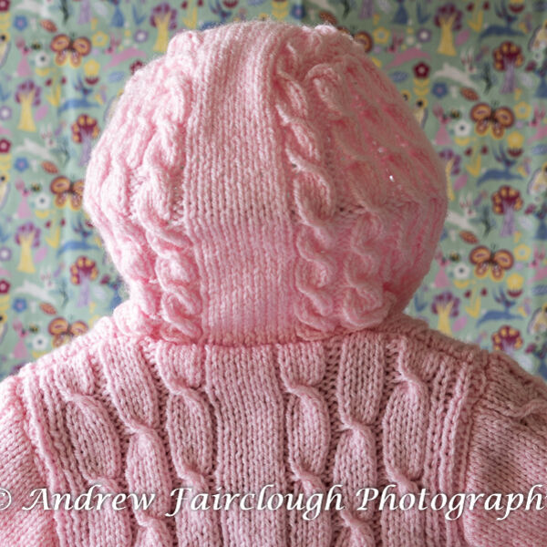 Fluted Waistband and Cable Hooded Jacket - Pink.