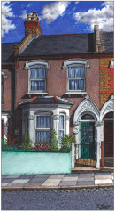 Architectural illustration of a Victorian terraced house