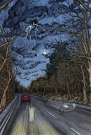 Book cover illustration - Haunted Cars and Highways