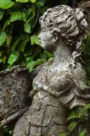 A stone statue woman