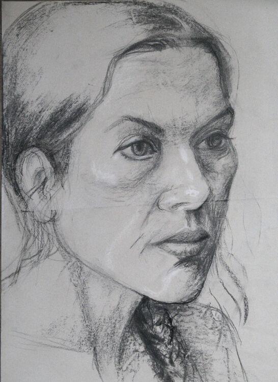Tania, charcoal & chalk,