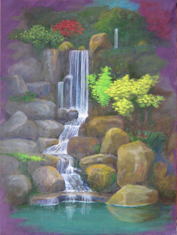 Japanese garden, oil on acrylic, 40x30cm