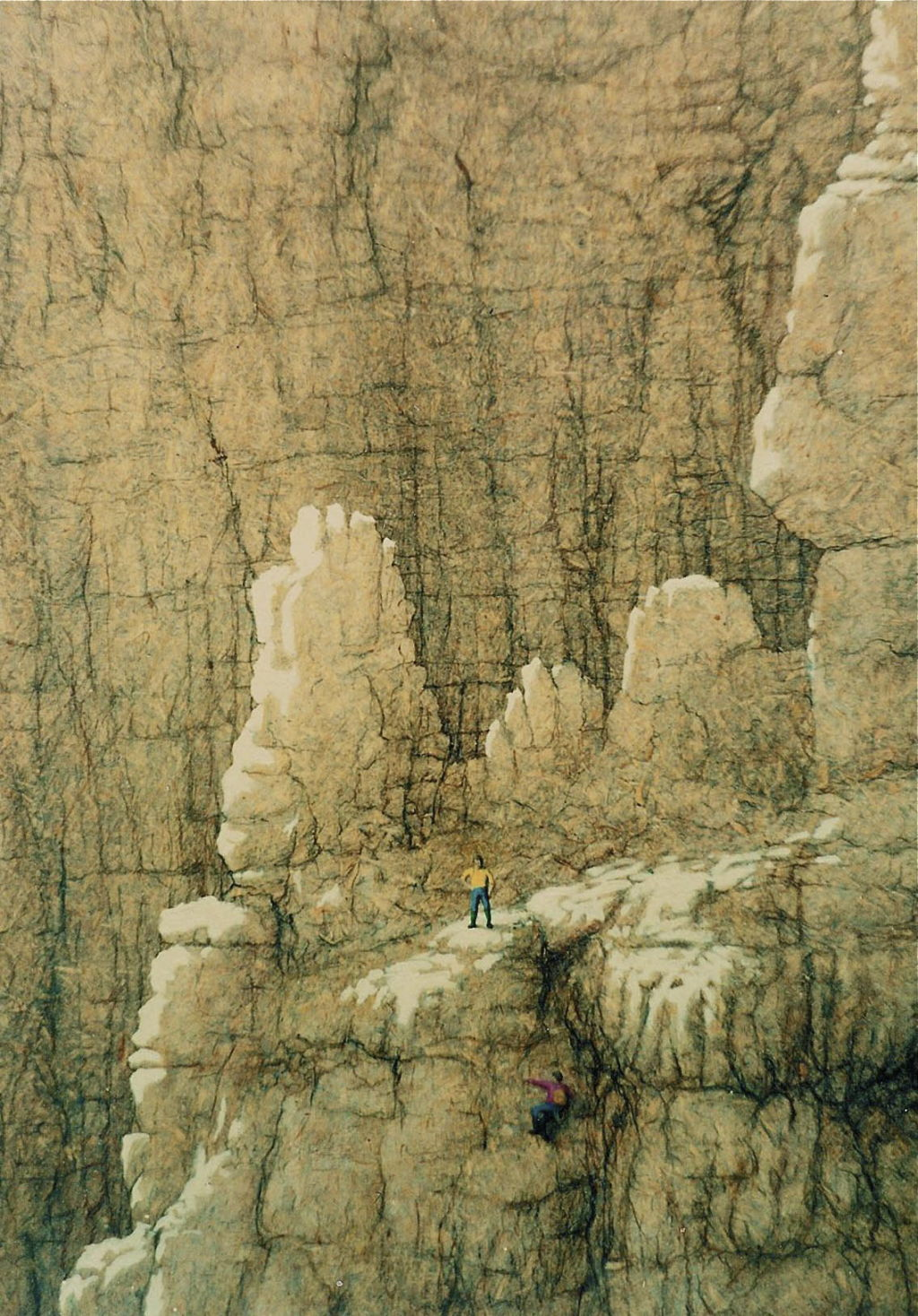 Climbing in the Dolomites  90cm x 50cm chipboard