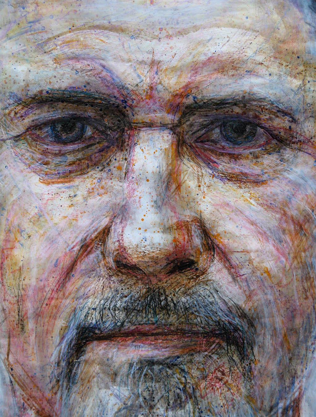 Big wax & acrylic portrait 140cm x 80cm