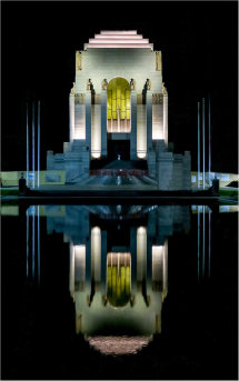 Anzac War Memorial and pool of reflection.jpg 1920