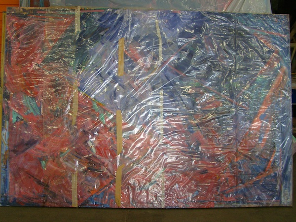 Tony McGillick painting wrapped in plastic