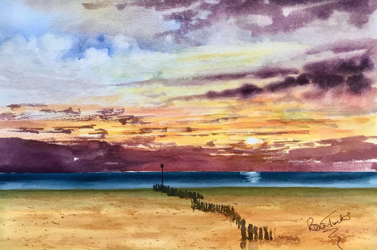 Sunset at Hunstanton Beach in Norfolk