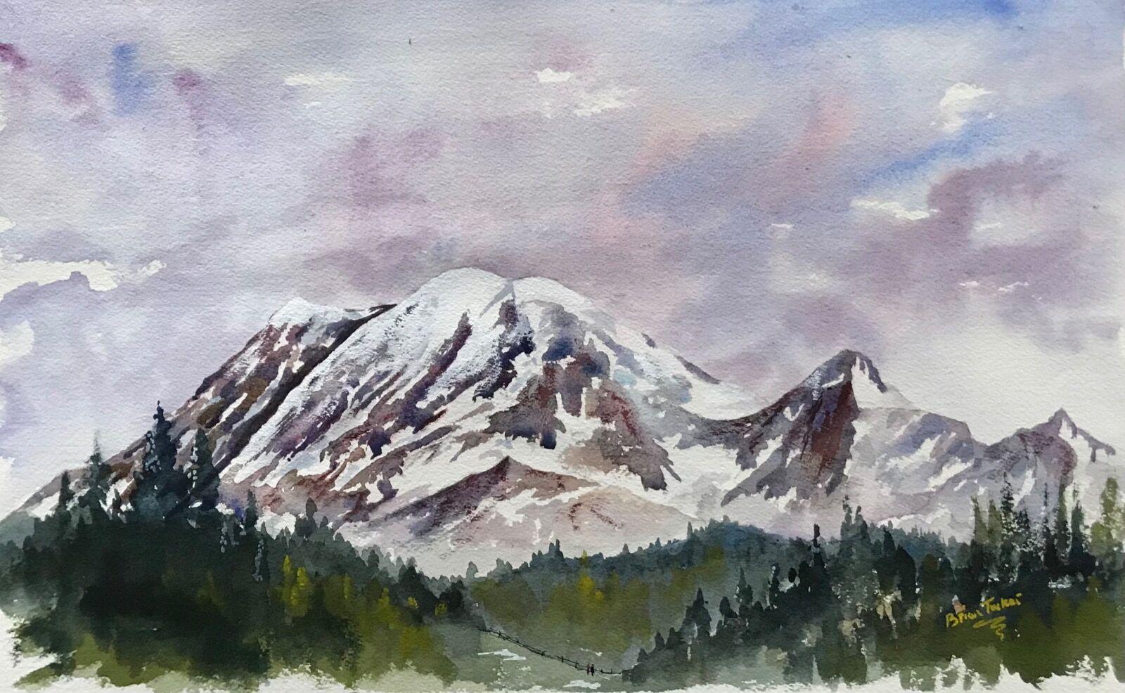 A watercolour of Mount Rainier near Seattle