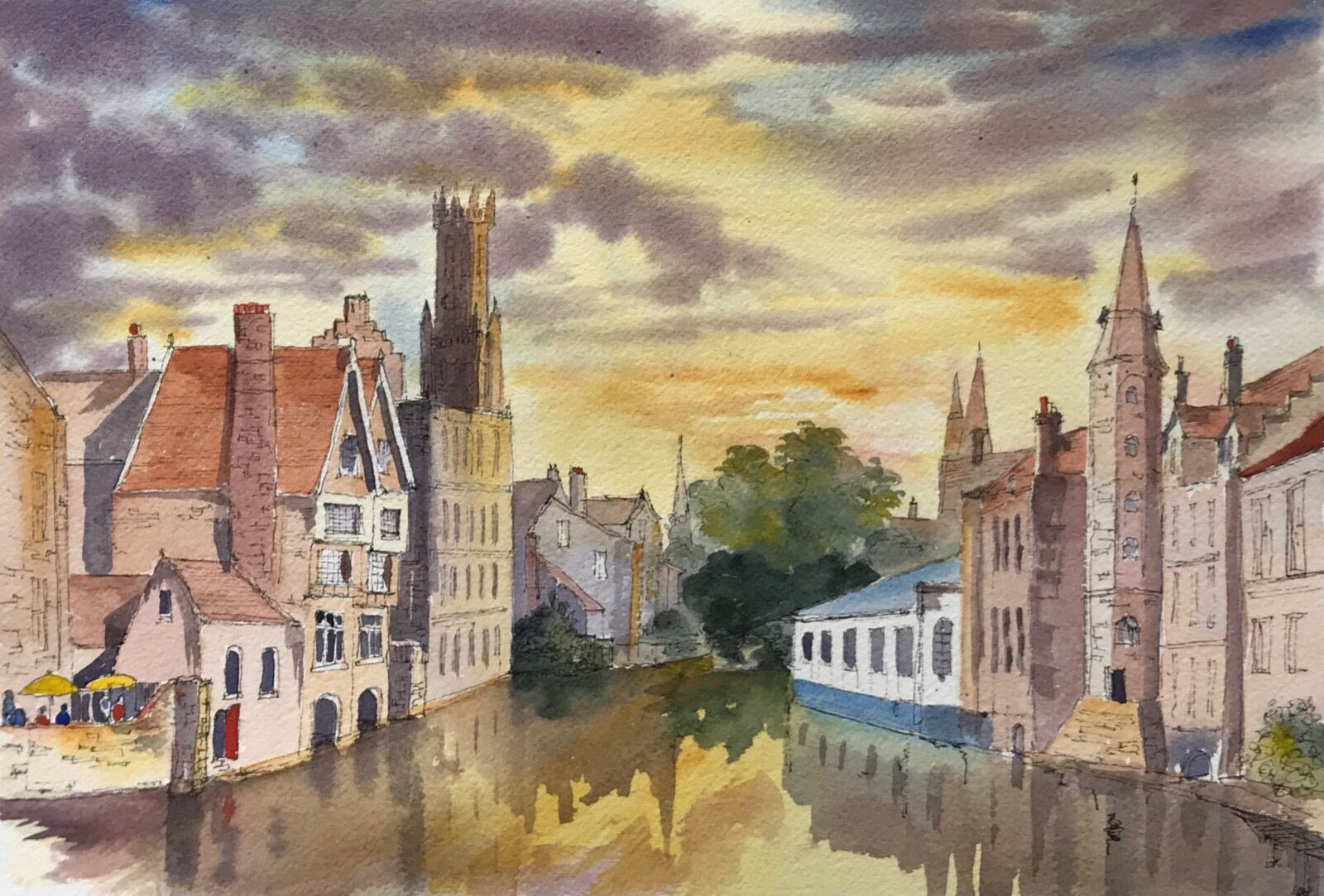 Evening calm on a Canal in Bruges