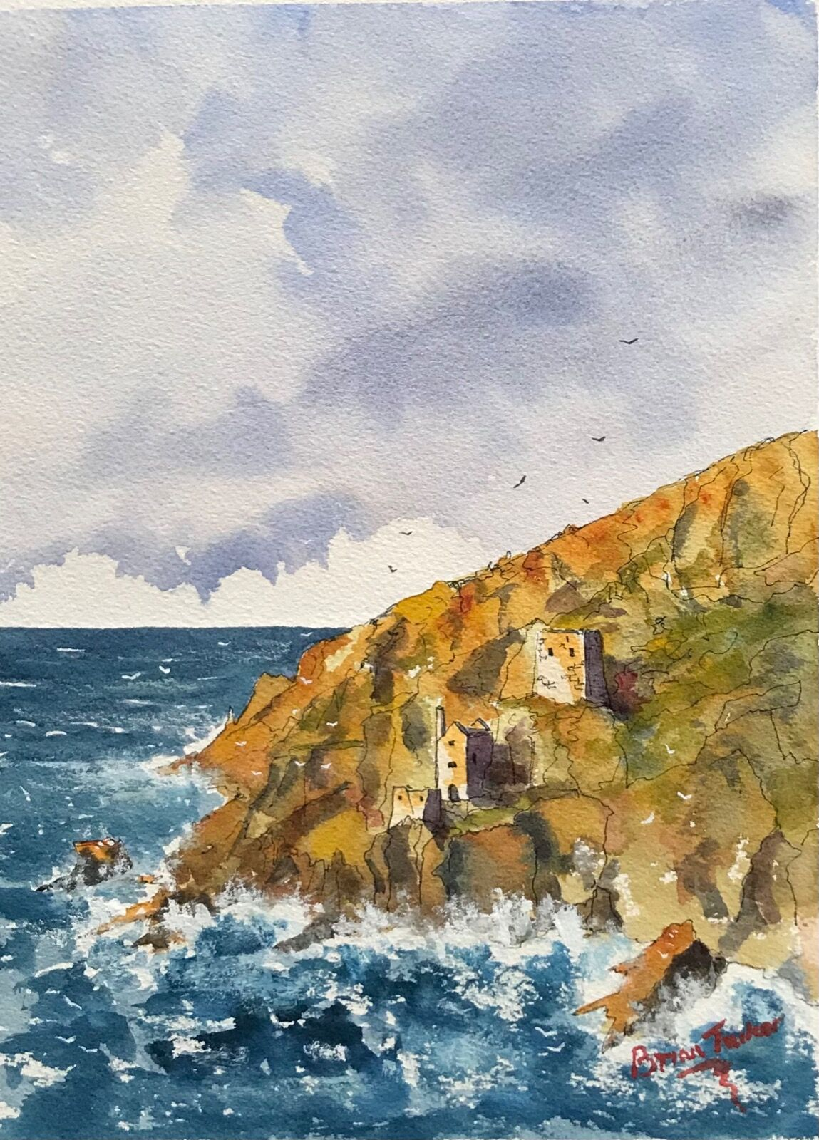 Stormy seas at Botallack Mine in Cornwall