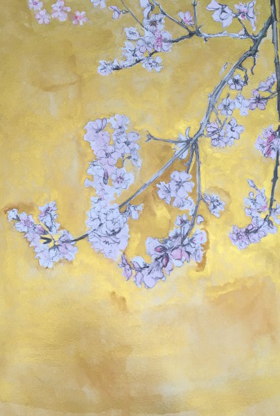 Cherry Blossom in Spring on Gold