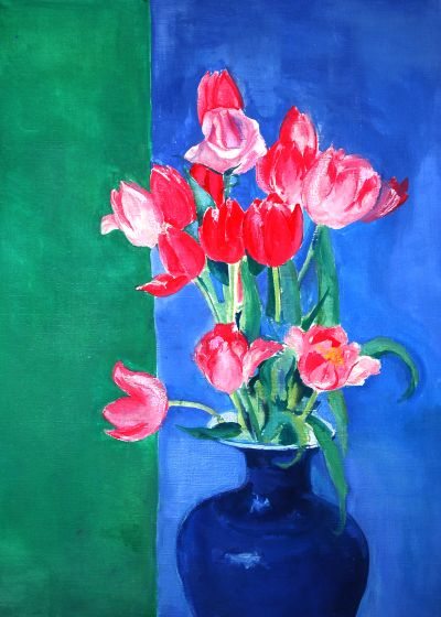 Pink Tulips in Blue Vase