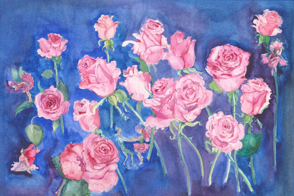 Pink Rose Flower Fairies