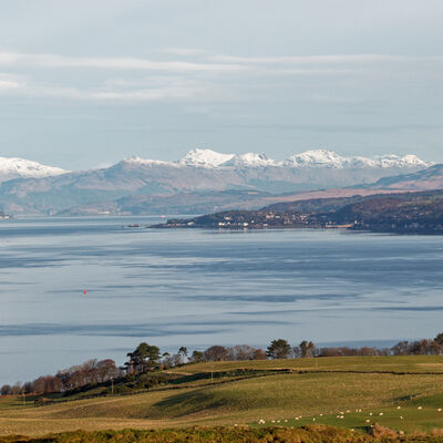 Snow on the hills, Clyde Estuary