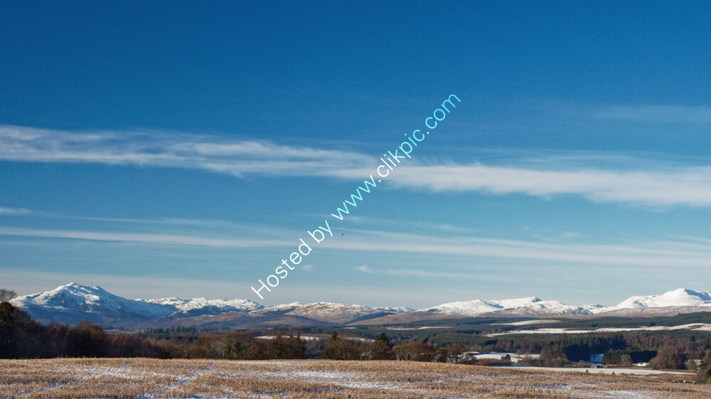 View to snowy hills
