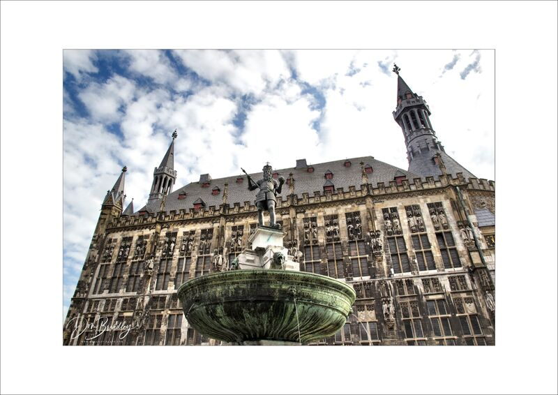 Aachen Rathaus and Charlemagne Statue