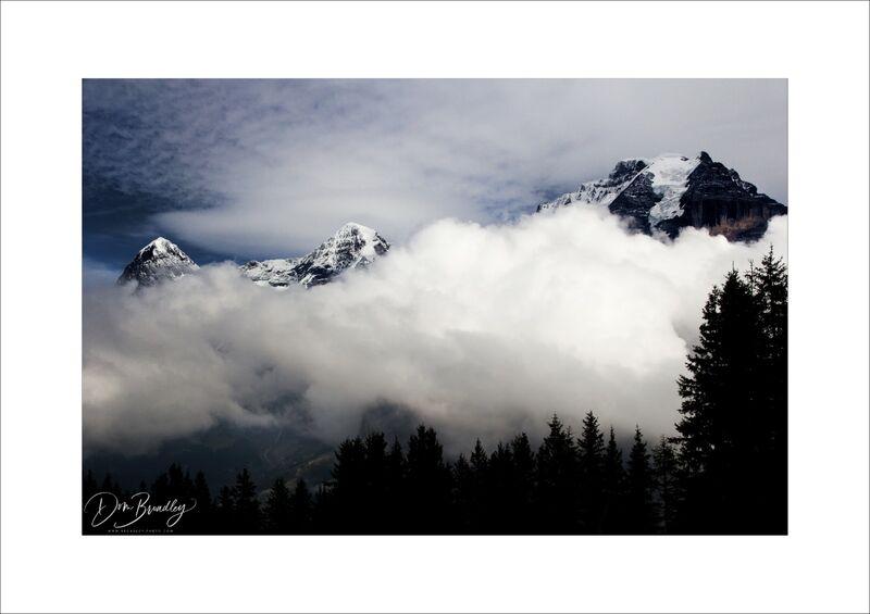Eiger, Mönch and Jungfrau from Allmendhubel. Berner Oberland, Switzerland