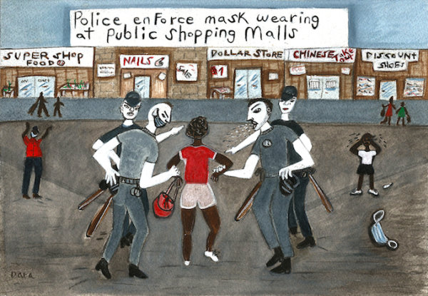 Police Enforce Mask Wearing At The Shopping Mall - by Dara Herman Zierlein (USA)