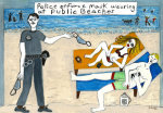 Police Enforce Mask Wearing At Public Beaches - by Dara Herman Zierlein (USA)