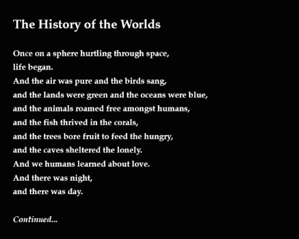 The History Of The Worlds - by Julia Archer (USA)