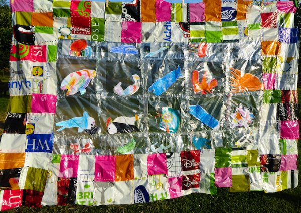 An Art Work  About Plastic and The Sea - by Janie M McDonald & the Children of St Mabyn Primary School (England)