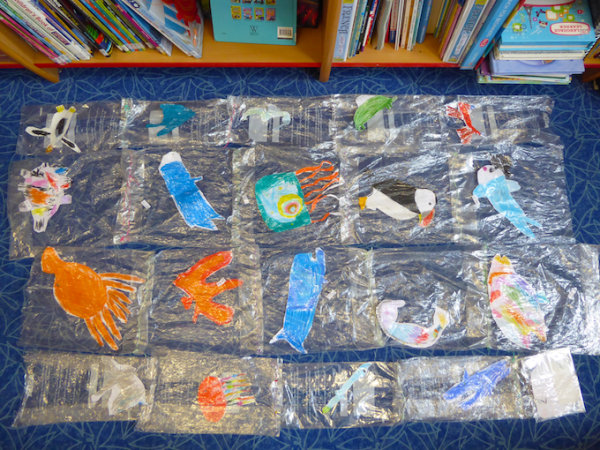 An Art Work  About Plastic and The Sea (a) - by Janie M McDonald & the Children of St Mabyn Primary School (England)