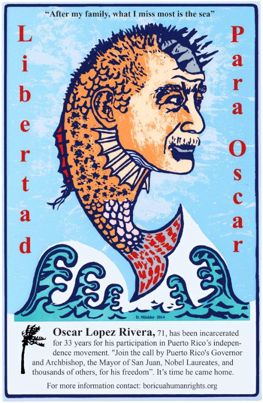 Oscar López Rivera - by Doug Minkler (USA)
