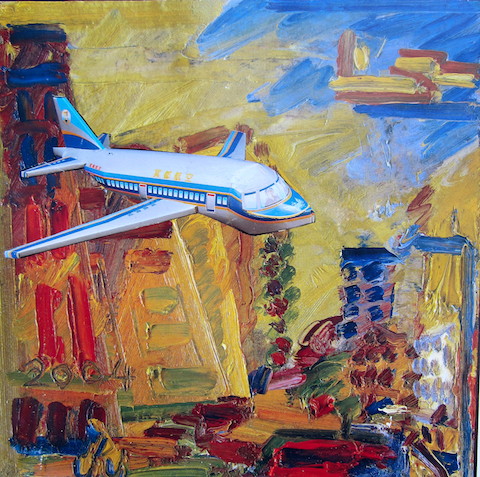 Plane Over City - by Emma Finch (UK)