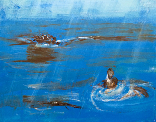 Refugees Arrive in Stormy Seas - by Ruth Davies (England)