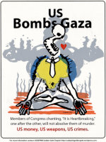 US Bombs Gaza - by Doug Minkler (USA)