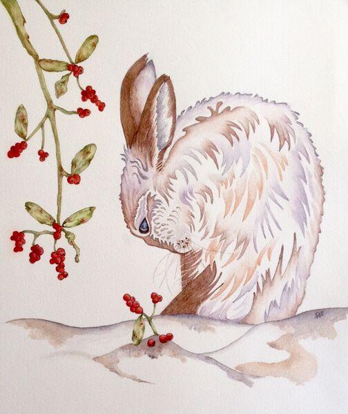Brown Hare & Berries