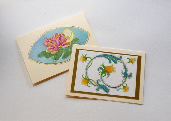 Two HandPainted - Greeting Cards