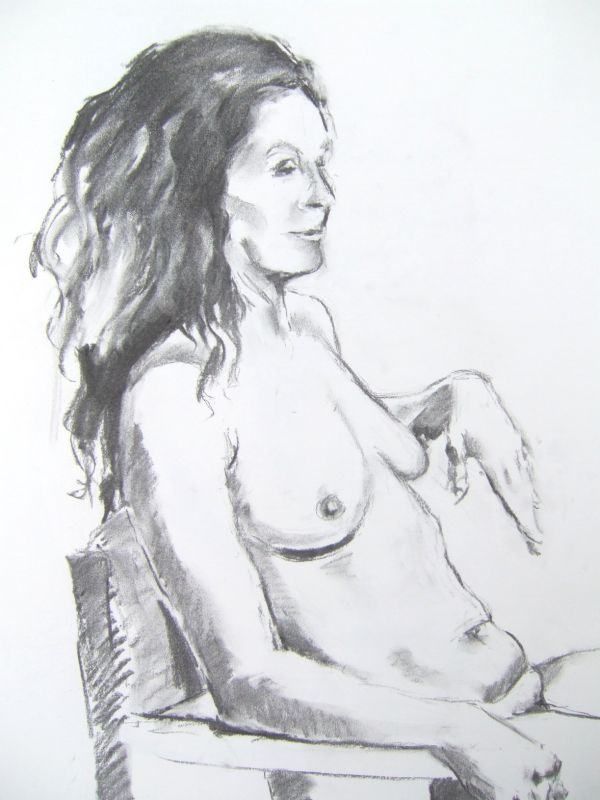 L22 Nude (woman seated on chair, long dark hair)