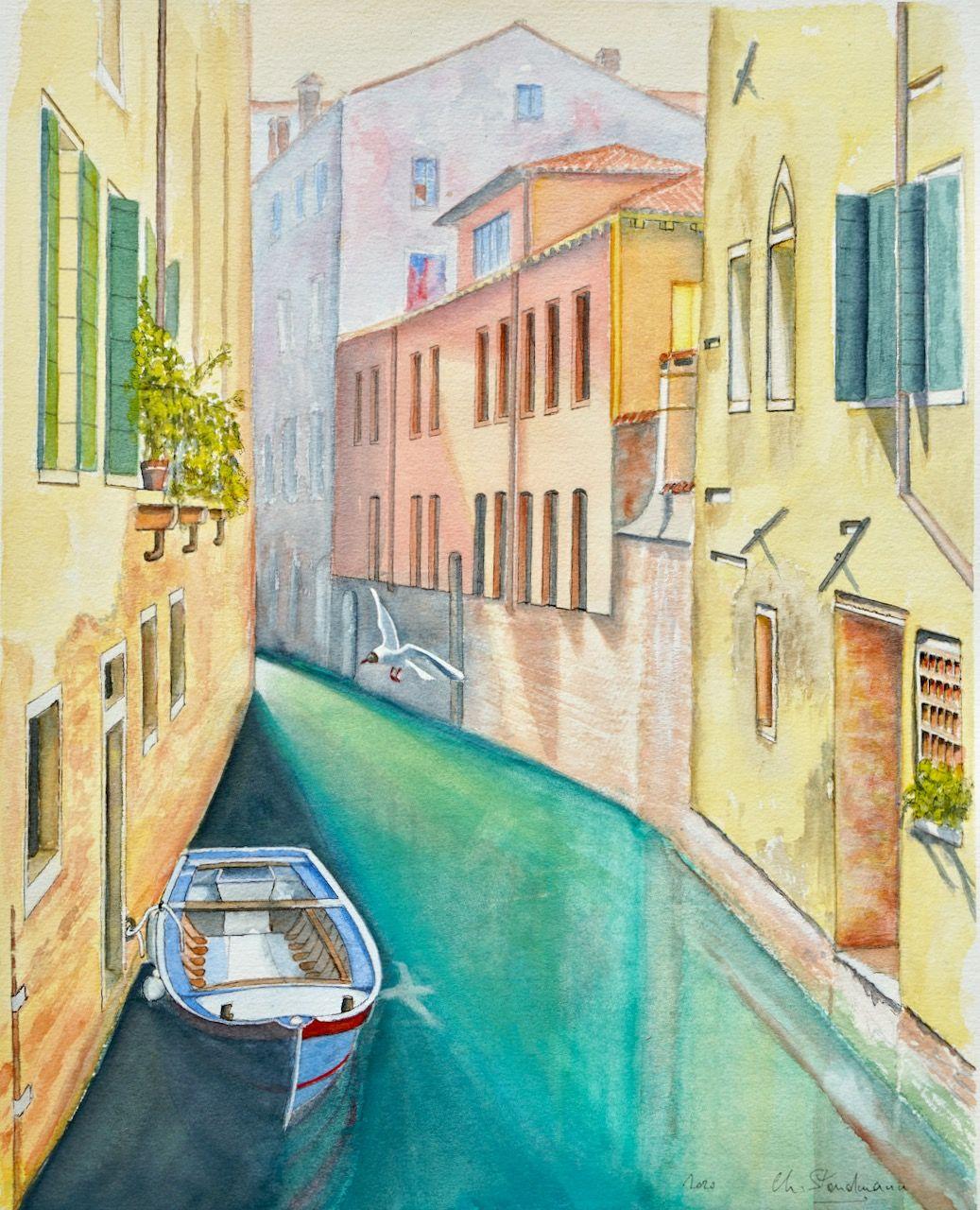 Canal de Venise et mouette rieuse / Venice canal