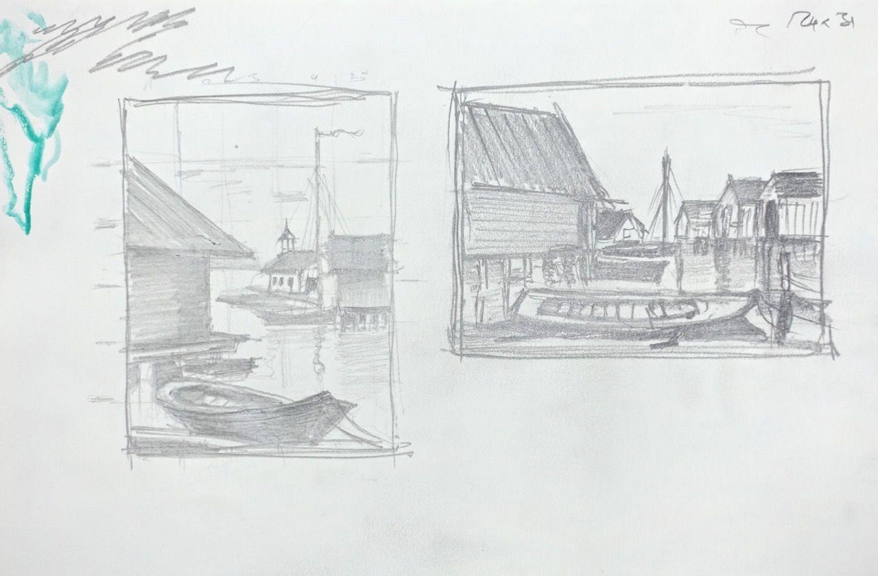 Etudes de l'ancien port de Mariehamn, archipel de Åland (FI)