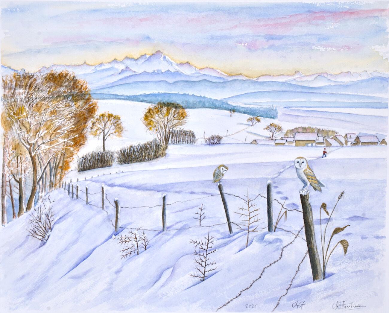 Jura en hiver avec le Mont Blanc et 2 chouettes