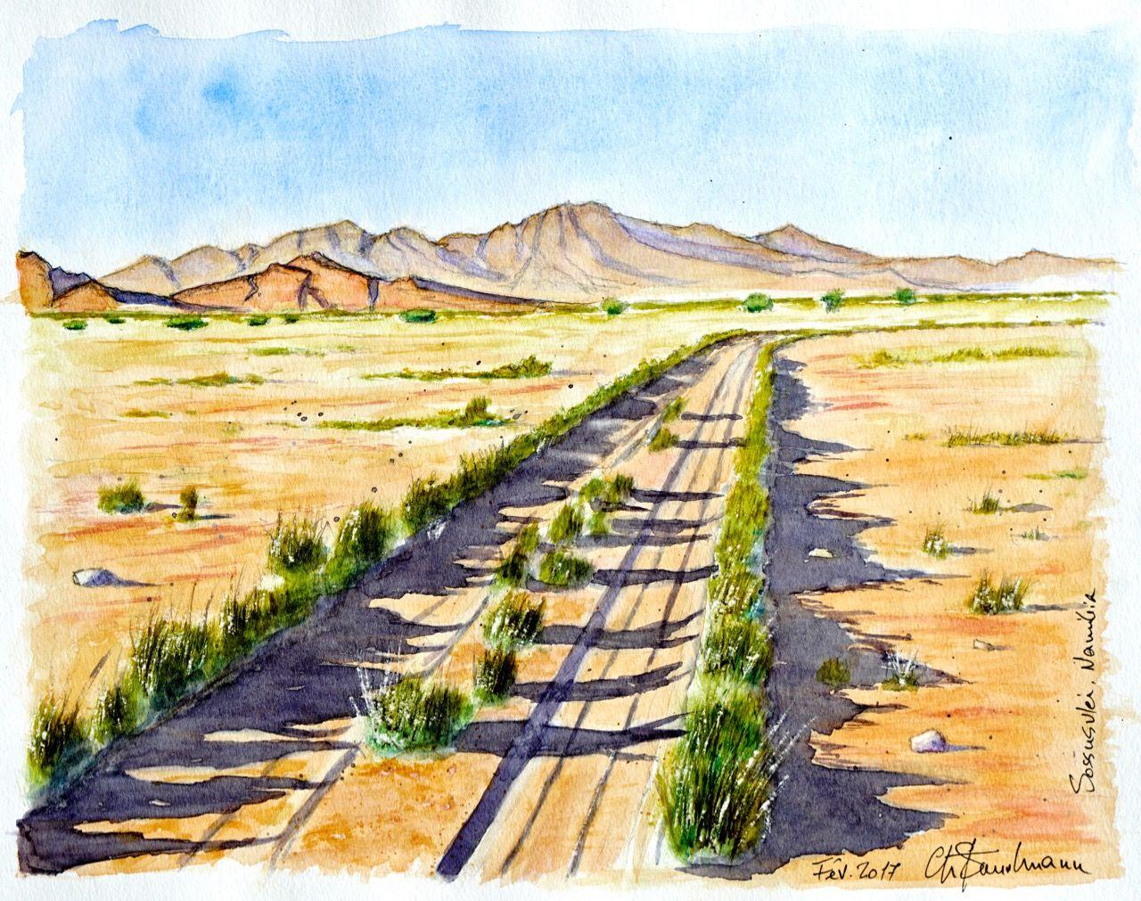 Piste dans le desert du Namib