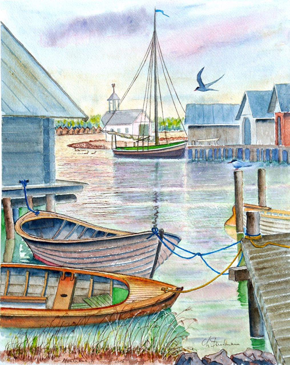 Vieux port de Mariehamn avec sternes, Finlande