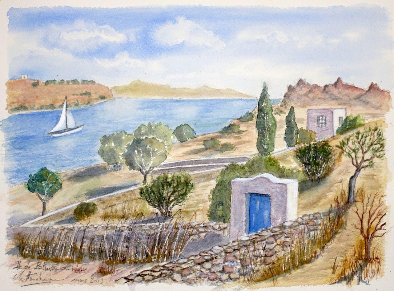 Vue de Patmos, Grèce