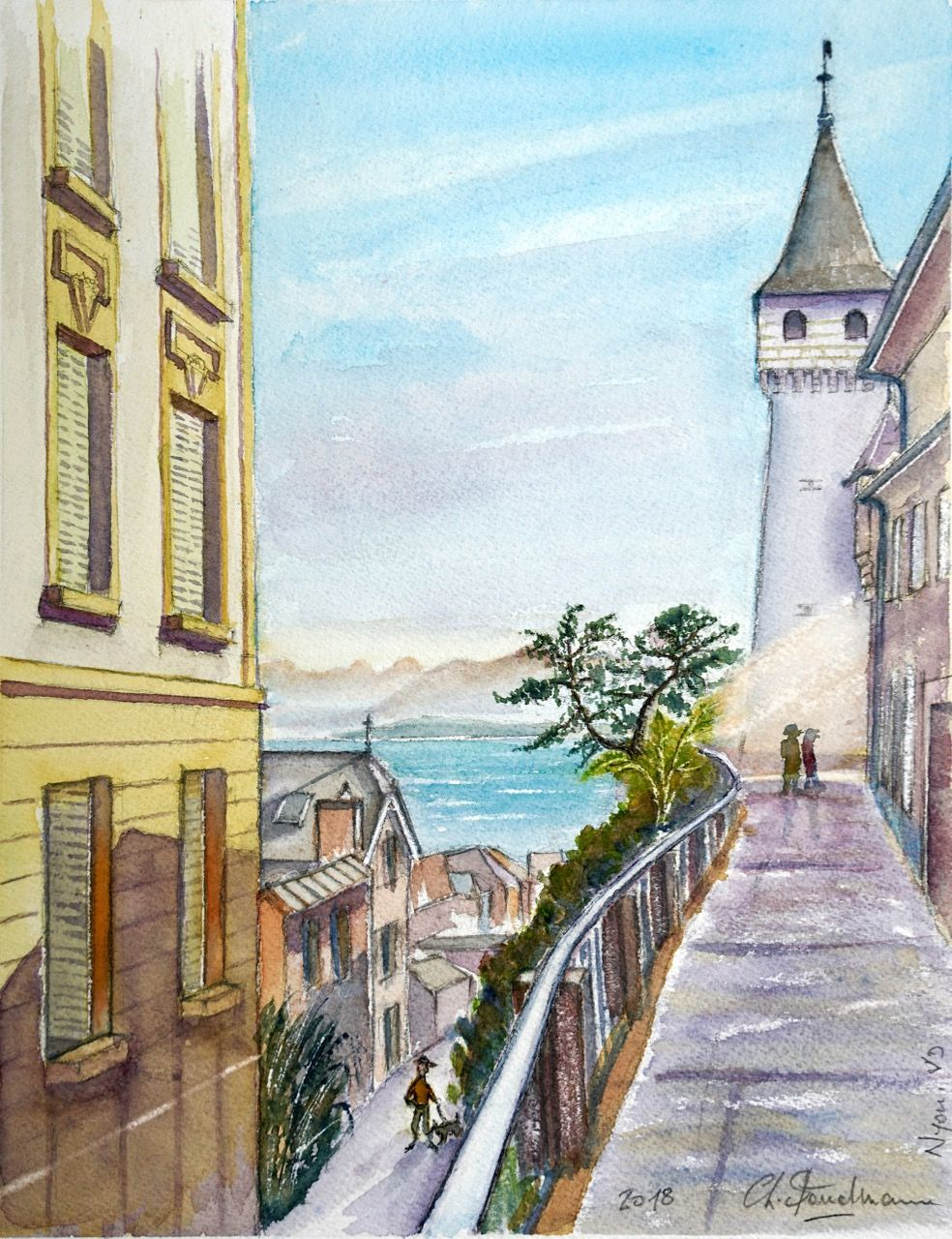 Vue vers le Château de Nyon et le lac