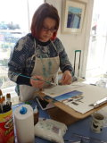 Me working on a new acrylic collage