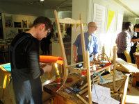 Carla and Jeremy Bonner working on my rocker frame